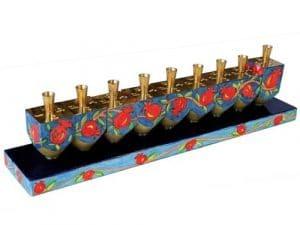 Yair Emanuel Dreidel Hanukkah Menorah: Pomegranates