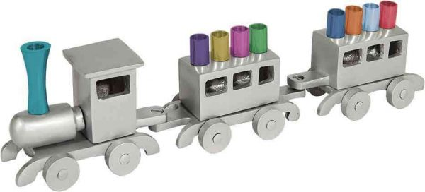 Yair Emanuel Hanukkah Menorah: Train with Colored Candleholders