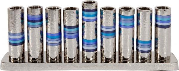 Yair Emanuel Hanukkah Menorah: Blue Ringed Design with a Hammered Texture