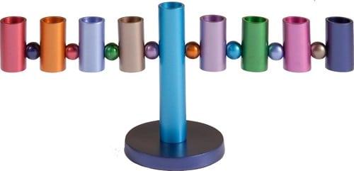Yair Emanuel Hanukkah Menorah: Multicolor Tube Design