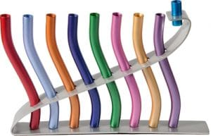 Yair Emanuel Hanukkah Menorah: Multicolored Anodized Sticks