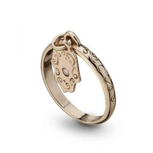 Gold Hamsa Ring with Delicate Diamond