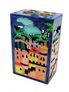Yair Emanuel Candelabro de madera de recorte - Jerusalén