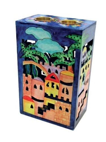 Yair Emanuel Wooden Cutout Candlestick- Jerusalem