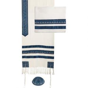 Yair Emanuel Tallit bordado a la venta: Franjas Azules
