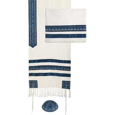 Yair Emanuel Embroidered Talit for Sale: Blue Stripes