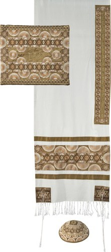 Yair Emanuel Talit for Sale: Gold Colored, Full Embroidery