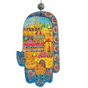 Yair Emanuel Small Wood Painted Hamsa: Oriental Jerusalem