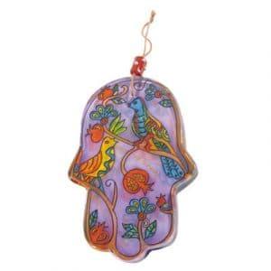 Yair Emanuel Large Glass Hamsa: Birds