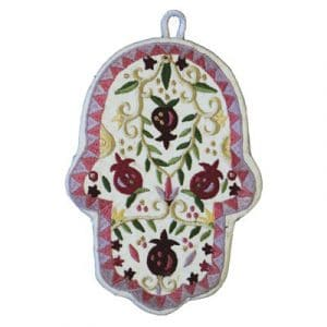 Yair Emanuel Large Embroidered Hamsa: Pomegranates