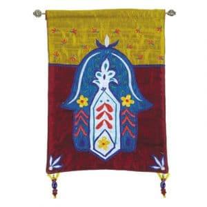 Yair Emanuel Pequeño tapiz: Hamsa - Flores
