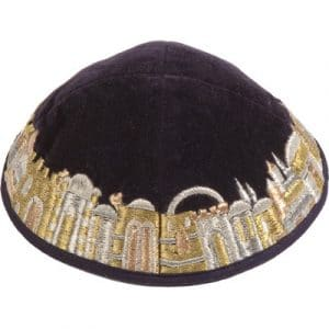 Yair Emanuel Velvet and Embroidered Kippah: Jerusalem