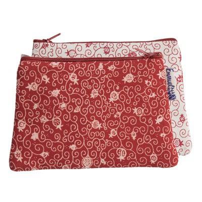 Yair Emanuel Trapeze Shaped Wallet: Printed Pomegranate Design
