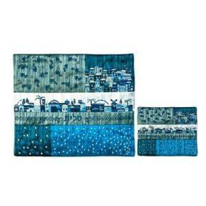 Yair Emanuel Bolsos bordados Tallit y Tefillin: Diseño de Jerusalém con parches azules