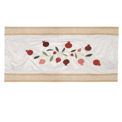 Yair Emanuel Silk Tablecloth: Pomegranates Design on a White Base