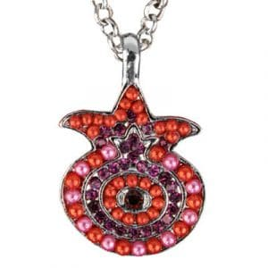 Yair Emanuel Pendants: Crystals and Beads Pomegranate with Chain Necklace - Maroon