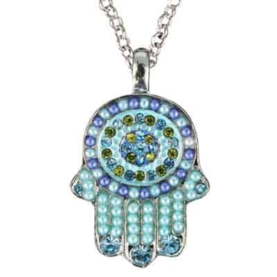 Yair Emanuel Pendant: Hamsa Design with Crystals