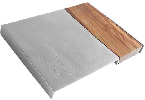 Yair Emanuel Tablero de jalá de metal: madera y silver