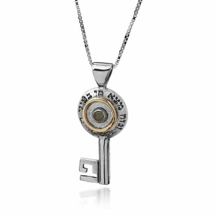 Colgante de gemas de plata y crisoberilo (ojo de gato)