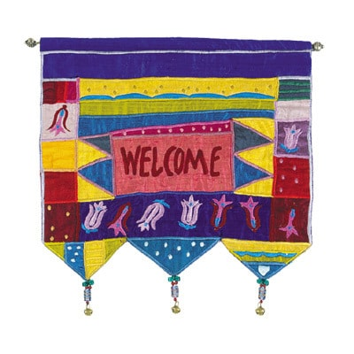 Yair Emanuel Wall Hangings: Flower Design with Welcome in English