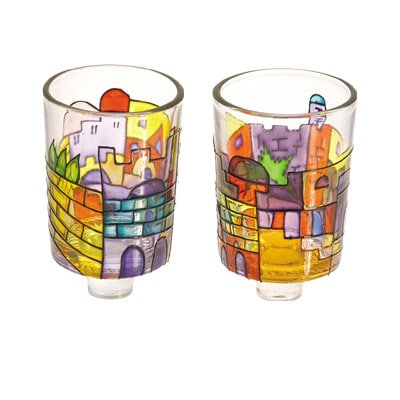 Yair Emanuel Painted Glass Candle Holders: Jerusalem