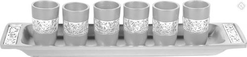 Yair Emanuel Six Cups Kiddush Set- Silver