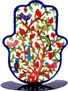 Yair Emanuel Large Hamsa Stand: Birds and Pomegranates
