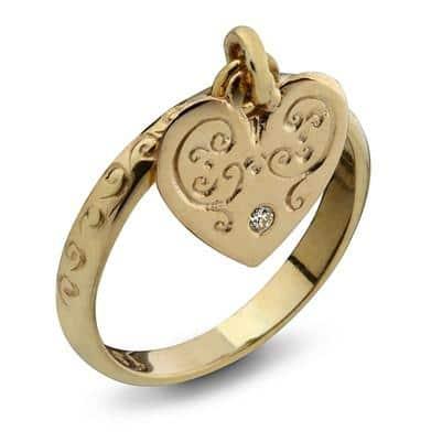 9K Gold Heart Kabbalah Ring with Diamond