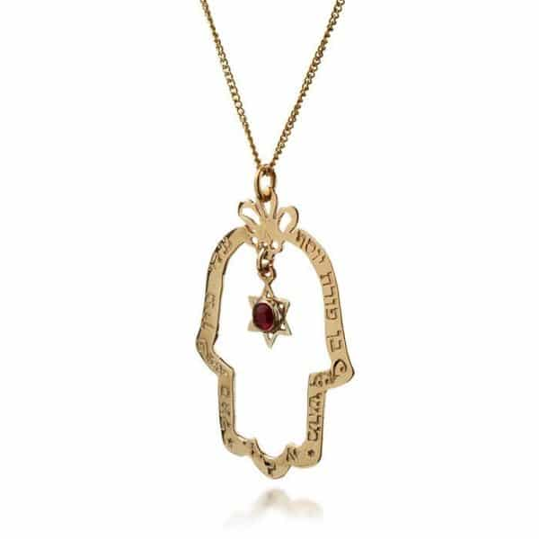 9K Gold with Garnet Necklace - Star of David