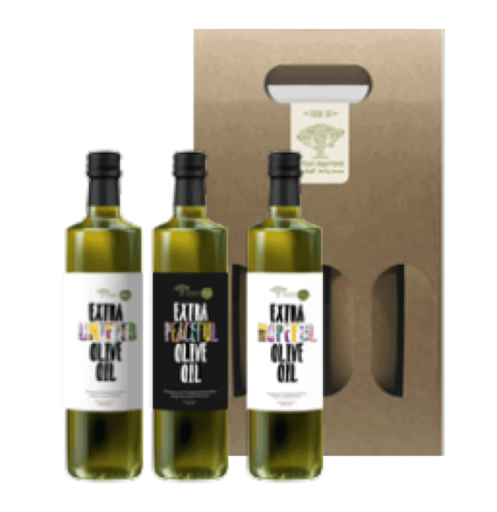 Gift Pack Three bottles of extra virgin olive oil, various strains, 250 ml each