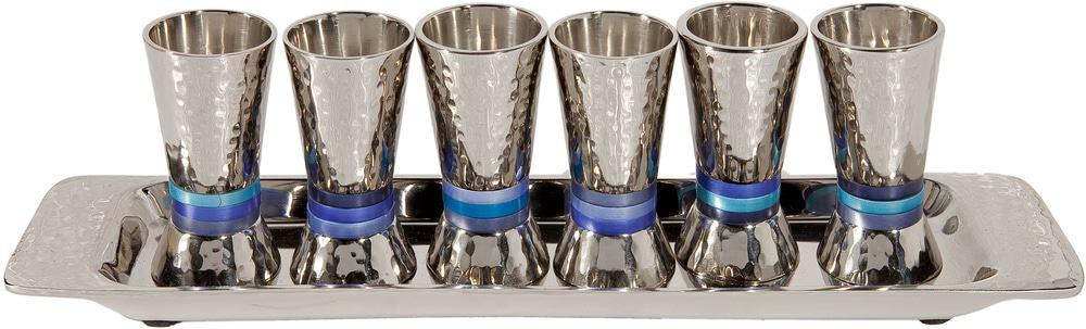 Yair Emanuel Juego de 6 copas: anillos azules -Níquel