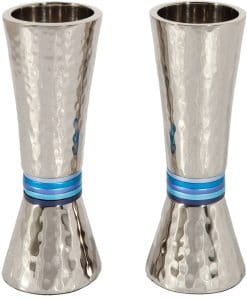 Yair Emanuel Hammerwork Candlesticks: Cone Shaped -Blue Colored