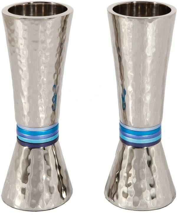 Yair Emanuel Hammerwork Candlesticks: Cone Shaped -Blue Colored