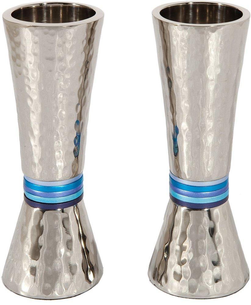 Yair Emanuel Candelabros martillados: forma de cono -color azul