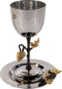 Yair Emanuel Tall kiddush cup - stainless steel - grapes