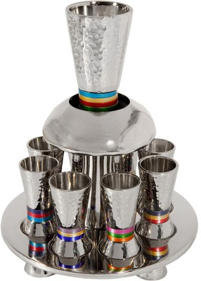 Yair Emanuel Fountain Set: 8 Kiddush Cups with Colorful Stripes