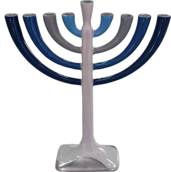 Aluminum Chanukah menorah: Blue and Sliver