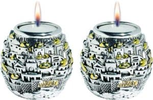 Candlesticks Jerusalem Design with Tray