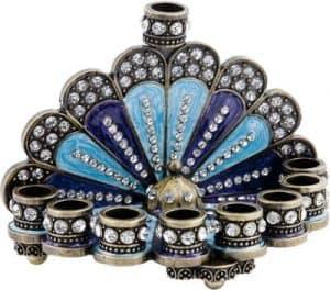 Hanukkah Menorah Filigree Miniature: Peacock Design