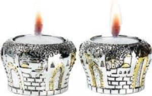 Candelabros En Forma De Los Portones de Jerusalém Plata