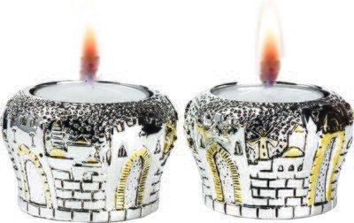 Silver Jerusalem Gates Candlesticks