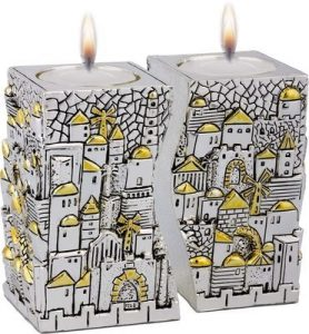 Shabbat Candlestick: Jerusalem Design