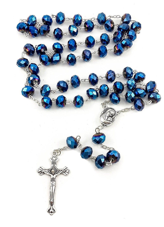 Collar de Rosario de abalorios de zafiro azul profundo de Tierra Santa