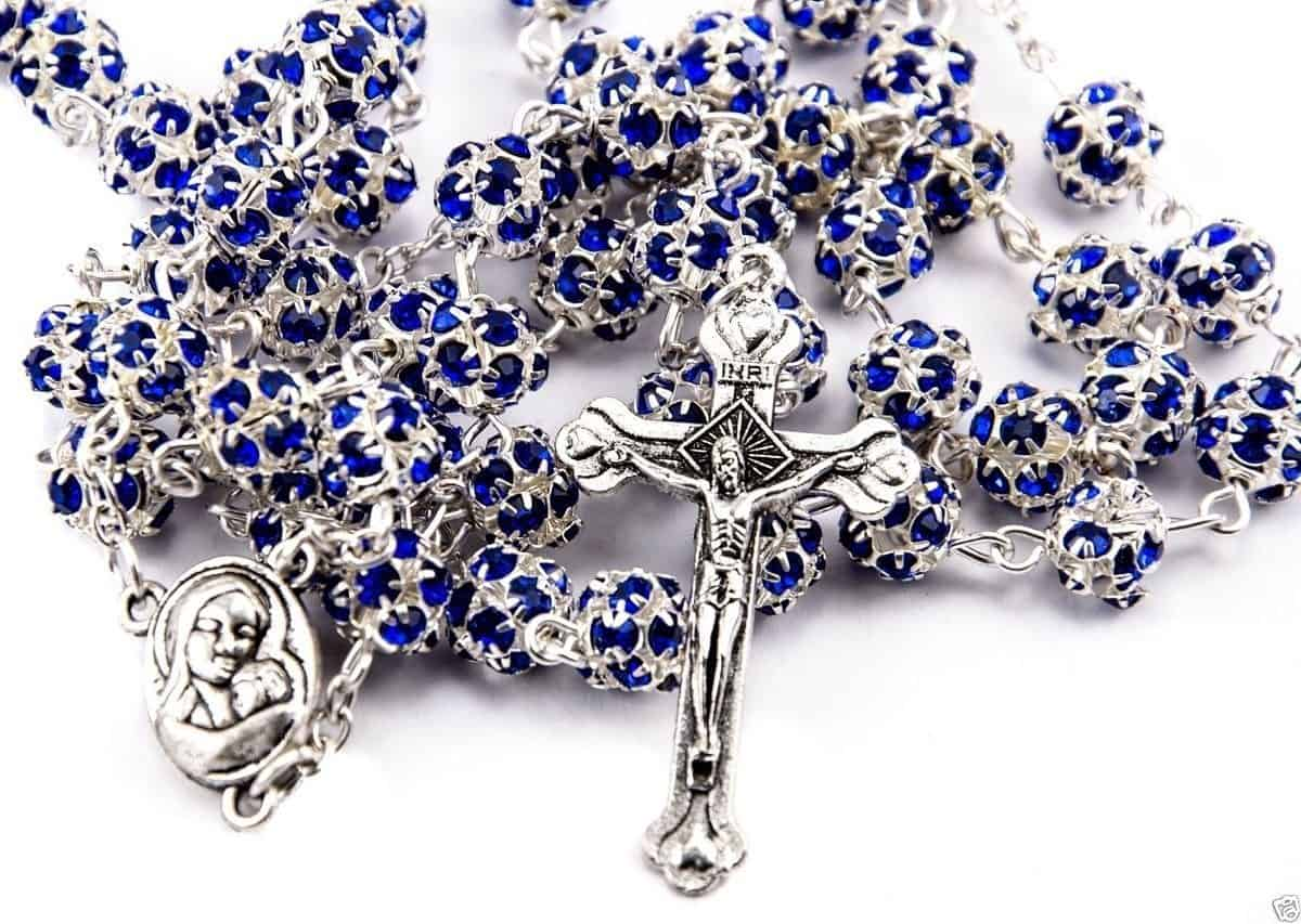 Blue Zircon Crystals Beads Rosary  Necklace from  the Holy Land
