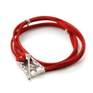 Silver and Red Leather Ana BeKoach  Kabbalah Bracelet