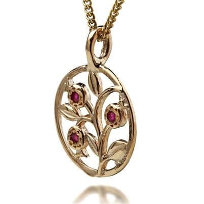 Gold and  Ruby Red Pomegranates Necklace