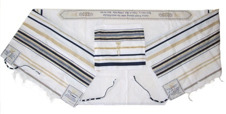 Messianic Shawl and Tallit - Blue and Gold Design