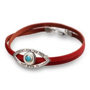 Red Leather with Silver Eye Bracelet