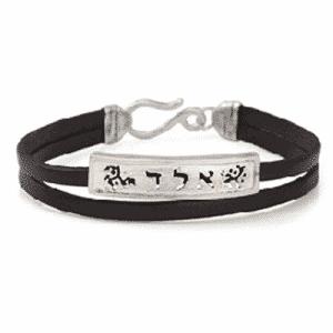 Pulsera Kabbalah 72 nombres de dios 925 y Cuero