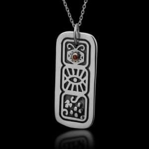 Silver Necklace with Garnet Stone - Family Blessing
